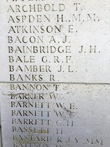 W E Barnett on Ploegsteert Memorial