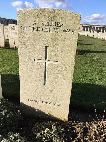 Grave for Unknown Soldier at Ploegsteert