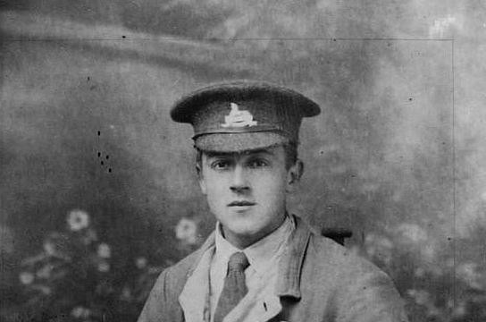 George Rudkin in hospital uniform